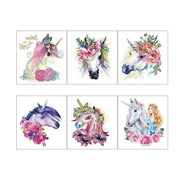 Unicorn Temporary Tattoos for Children Kids Girls(45Sheets),Konsait Great Girls Fake Stickers Waterproof Rainbow Unicorn… 7
