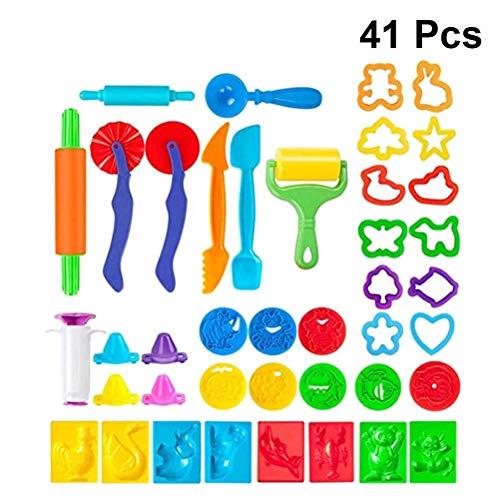 TOYANDONA 41 Piezas de plastilina Kit de Herramientas de plastilina Herramientas de plastilina Cortadores de Masa de Barro Extrusoras de moldes para niños Favor de Fiesta (Color al Azar)