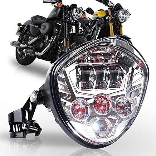 PXPART Motorcycle LED Headlight 7inch Hi Lo Beam White&Red DRL with Universal Motorcycle Mounts Bracket Compatible with Harley Honda Kawasaki Suzuki Yamaha
