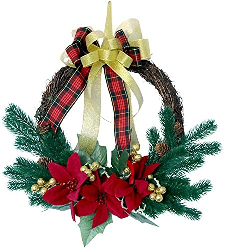 ZJDM Decorative Pine Needle Wreath,Winter Wreath With Pine Cones For Front Door Or Indoor Wall Décor To Celebrate Thanksgiving & Christmas Season, Frosted Sprig