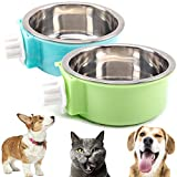 N/H 2 Pcs Dog Crate Water Bowl No Spill, Removable Dog Food Bowls, No Spill Dog Bowl for Crate, Stainless Steel Crate Water Bowl Hanging Food Water Feeder Coop Cup for Pet (Green, Blue)