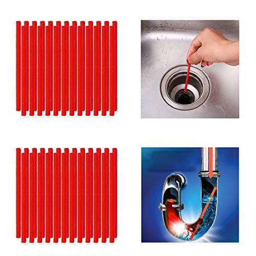 Qisiewell Abflussreiniger Sticks 50 Stück Rot Rohrreiniger Enzymreiniger für verstopfte Rohre im Bad Spülbecken Dusche Küche Spülbecken & WC & Waschbecken Badewanne und vieles mehr