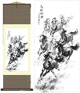 Grace Art Asian Wall Scroll, Majestic Horses