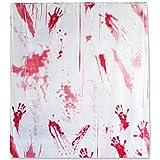 THE TWIDDLERS Blutiger Horror Duschvorhang Deko - Perfekte Bad Dekoration an Halloween blutige Hände tropfendes Blut - Inklusive 12 Haken mehrere Farben Schimmelresistent - für Parties