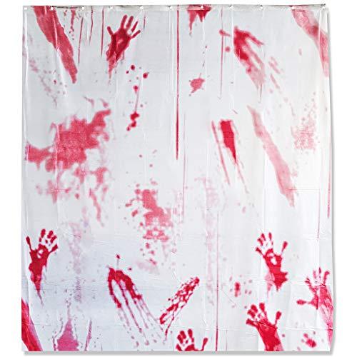 THE TWIDDLERS Blutiger Horror Duschvorhang Deko - Ideale Bad Dekoration an Halloween blutige Hände tropfendes Blut - Inklusive 12 Haken mehrere Farben Schimmelresistent - für Parties