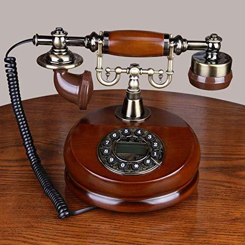 Nostalgietelefon Vintage, Retro Telefon aus Holz und Metall Telefon mit echter, rotierender Wählscheibe und Metallklingel