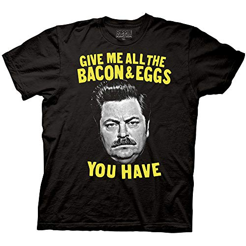 Ripple Junction Parks and Recreation Bacon and Eggs Ron Adult T-shirt (Large, Black)