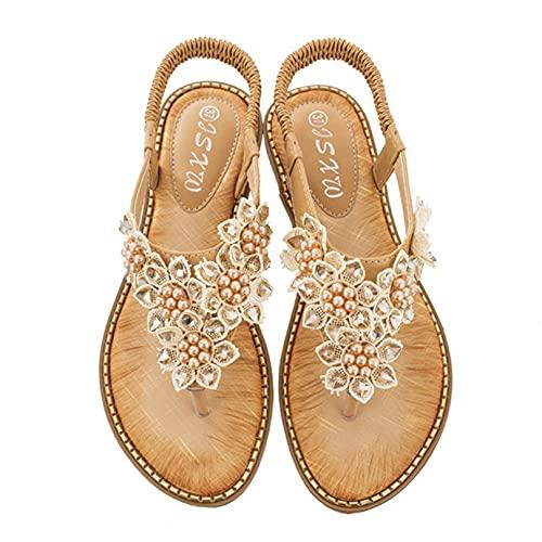 Sandalias de mujer Flor de perla Zapatos planos de verano al aire libre Zapatos de playa de ocio bohemio Chanclas de trabajo Sandalias romanas