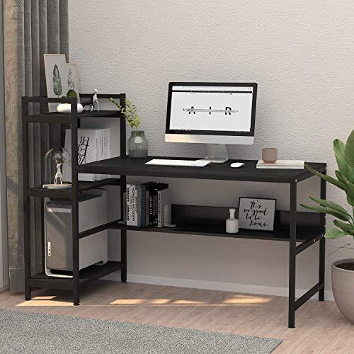 Dripex Holz Schreibtisch mit Ablage Computertisch, 120x60x111cm PC-Tisch Bürotisch Officetisch Stabile Konstruktion Tisch für Home Office (136cm Schwarz)