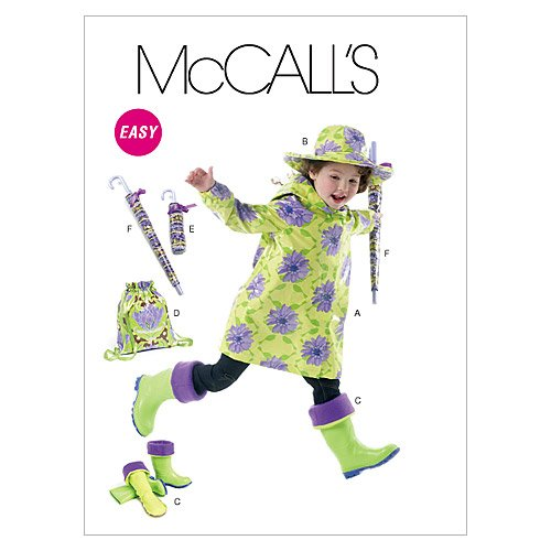 McCall's Patterns M6392 Children's/Girls' Raincoat, Hat, Boot Liners, Backpack and Umbrella Cases, Size Kid [(3-4) (5-6) (7-8)]