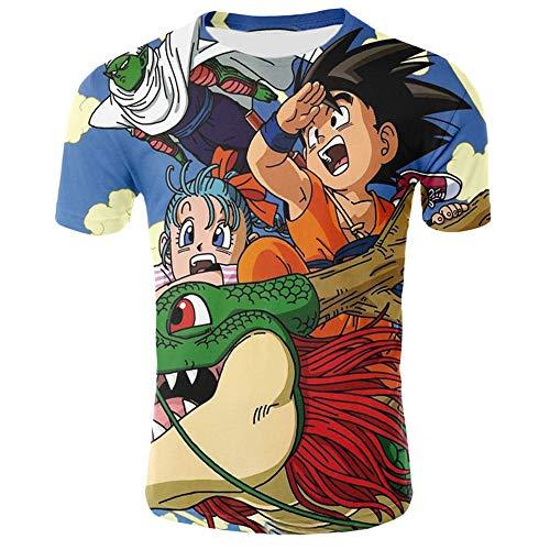 DIDIYICHU Camisetas de Mujer para Hombre Camiseta de Fiesta Informal de Verano de Manga Corta 3D Sudadera con Capucha Estampada Camiseta Pintada de Color Lindo Dragon Ball-XS