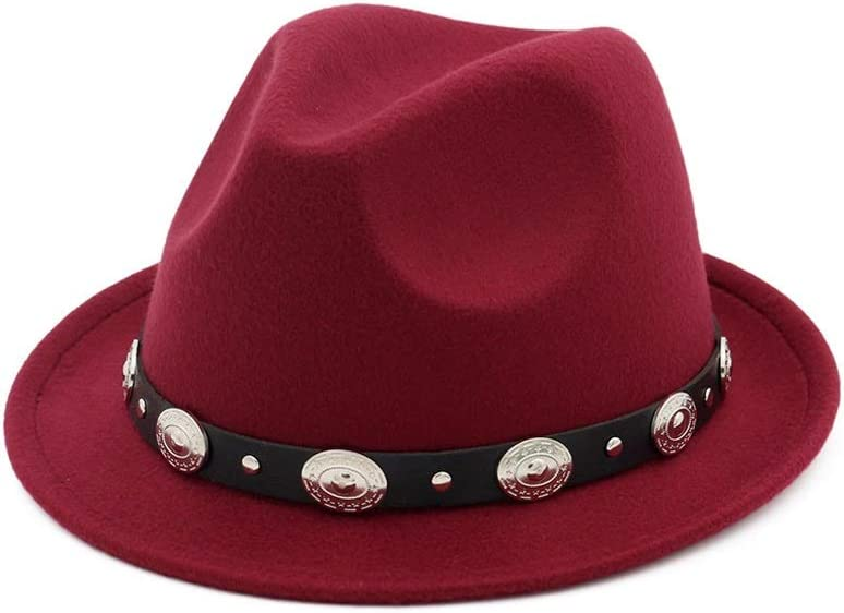 L.W.SUSL Fashion Women Men Wool Fedora Hat for Lady Gentleman Panama Fascinator Jazz Hat Size 56-58CM (Color : Wine red, Size : 56-58)