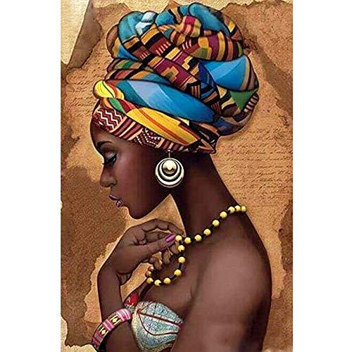 Haude Pintura de Diamante 5D DIY Redondo Completo Bordado Mujer Africana Puntada de Cruz Decoración del Hogar 3D