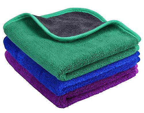 MAYOUTH Microfasertuch Autopflege Trockentuch, Premium Auto Microfaser Tuch 3er Reinigungstuch Handtuch für Auto, Fenster, Glas, Küche