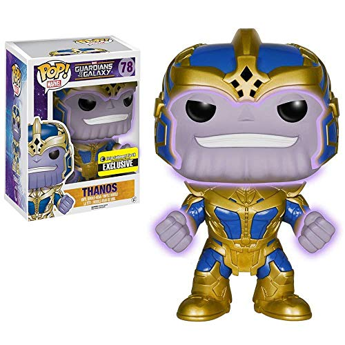 Marvel Guardiões da Galáxia Boneco Pop Funko Thanos Exclusivo Brilha no Escuro 15cms