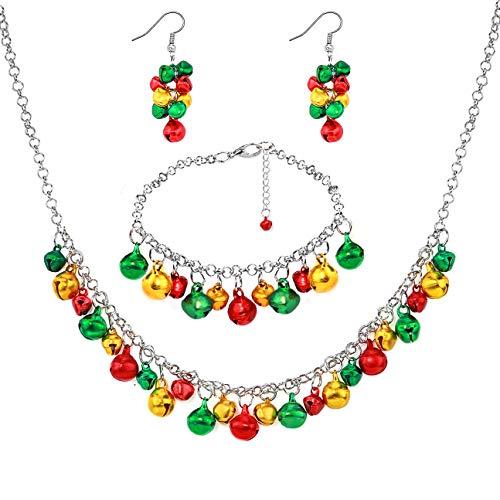 Gleamart Merry Christmas Bell Necklace Bracelet Earrings Set for Women