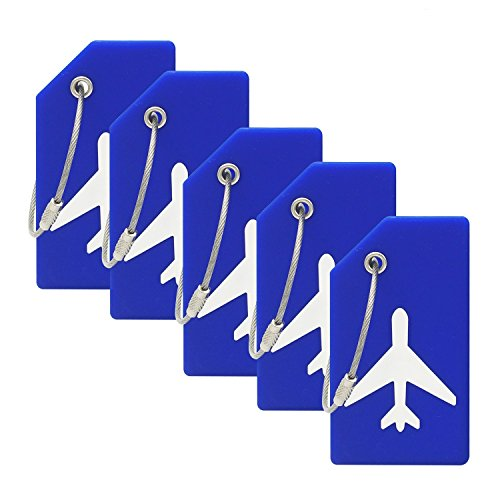 Silicone Luggage Tag With Name ID Card Perfect to Quickly Spot Luggage Suitcase (Plane 5Pcs Blue)