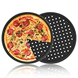 Pizza Pan with Holes, 2 Pack Segarty Carbon Steel Perforated Baking Pan with Nonstick Coating, 12...