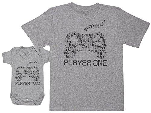 Player One & Player Two - EIN Teil - Teil des Sets - Grau - 3-6 Monate - Baby/Kinder