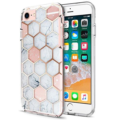 ZUSLAB Funda para Apple iPhone 8, iPhone 7, iPhone 6 Carcase Protectora híbrida, Funda Dura Transparente, Anti Choque - Mármol Hexagonal