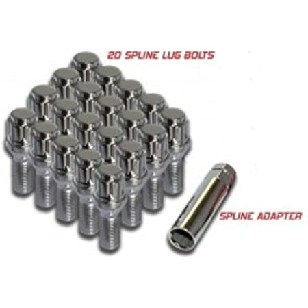 Wheel Accessories Parts 20 PC Chrome 12x1.5 Locking Spline 28mm Long Cone Seat 20, Chrome Lug Bolts with 4 Valves and Dual Hex Key