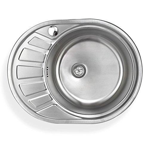 Stabilo-Sanitaer Einbauspüle aus hochwertigem Edelstahl, rundes Spülbecken mit kleiner Abtropffläche links, Küchenspüle in schönen und zeitlos modernen Design