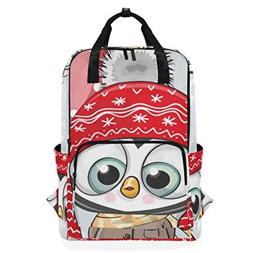 NR Lässiger Laptop Rucksack passt 15 Zoll Computer Notebook Rucksack große College-Schultaschen,Niedlicher Cartoon-Pinguin-Hut-Mantel-Ballon,Reisen/Business/Frauen/Jungen