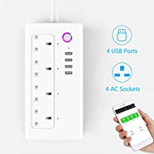 Smart Wifi Plug Extension iOS Android App Remote Control Power Socket Strip with 4 AC Plug Outlet