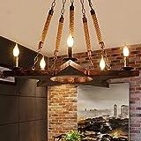 ZZYJYALG Antique Loft Edison Cáñamo Cuerda Araña Pentagrama Creativo de 5 luces Retro Colgante Colgante Ligero Lámpara de Techo de Hierro Forjado para Restaurante Coffee Store Café Sala de estar