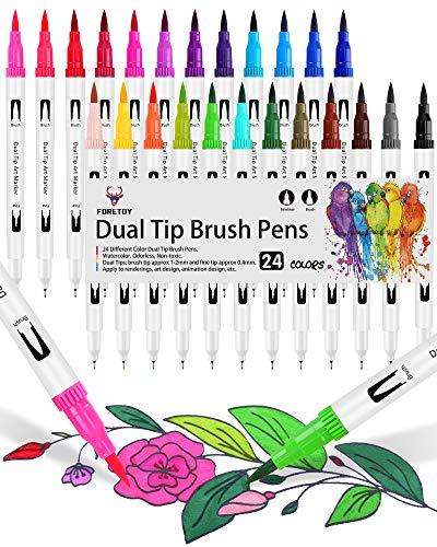 Dual Brush Pen Set, 24 Farben, Aquarell Pinselstifte Doppelte Filzstifte Für Bullet Journal Stifte, Handlettering, Kalligraphie, Manga, Malbücher, Pinselspitzen [1-2 mm] und Fineliner [0,4 mm]