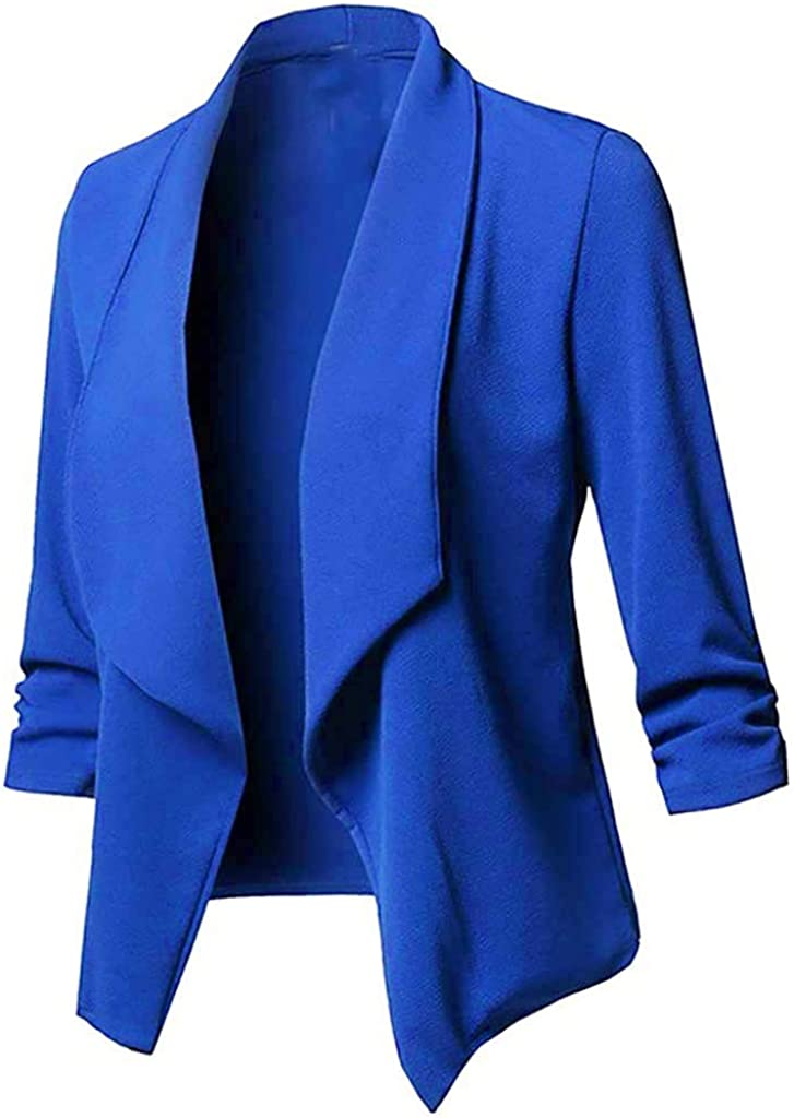 Damen Blazer Front öffnen Sakko Business Jacke Solide Langarm Strickjacke Beiläufig Mantel Double-Breasted Cardigan Slim Fit Anzug Trenchcoat Bule