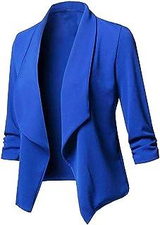 Women Suit Jackets TUDUZ Ladies Solid Waterfall Open Front Cardigan 3/4 Sleeve Lapel Blazer Coat
