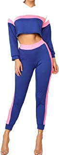 Energy Womens Weekend Fashional Contrast Active 2-Piece Hooded Sportswear Tracksuit