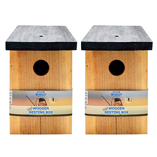 Simply Direct 2 x Pressure Treated Wooden Wild Bird House Wood Nesting Box SDBF017 - Multi Buy Bundles Available