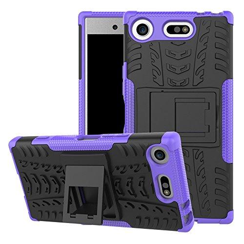 SCIMIN Capa compacta para Sony Xperia XZ1, capa híbrida compacta para Sony Xperia XZ1, camada dupla à prova de choque, capa rígida híbrida resistente com suporte integrado para Sony Xperia XZ1 de 4,6 polegadas