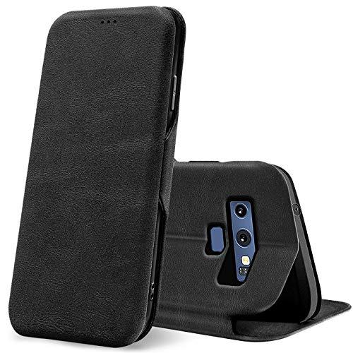 Verco Handyhülle für Samsung Note 9, Bookstyle Premium Handy Flip Cover für Samsung Galaxy Note 9 Hülle [integr. Magnet] Book Hülle PU Leder Tasche, Schwarz