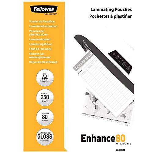 Fellowes 5312901 A4 Laminierfolien (80 Mikron) im praktischen 250er Value Pack