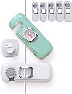 Cabinet Locks - ENCOLOVE Child Safety Locks 5 Pack - Child Drawer Latch - Baby Safety Cabinet Locks - Kitchen Safe Latchs ...