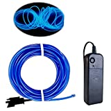 El Wire Blue, 16ft Neon Light with Battery Pack Neon Glowing Strobing Electroluminescent Wire for Parties, Halloween Decoration