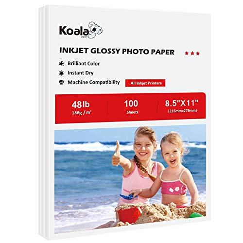 Koala Glossy Photo Paper 8.5X11 Inches 100 Sheets Compatible with Inkjet Printer 48lb