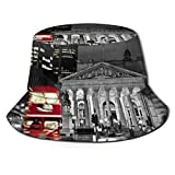 Retro Vintage British Museum and Fresh Red London Bus of England Bucket Hat Unisex Sun Hat Fisherman Packable Trave Cap Fashion Outdoor Hat