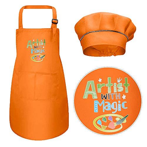 VINFUTUR Juego de Chef Infantil, 1pcs Delantal para Niños+1pcs Gorro Cocinero Infantil Delantal y Gorro Cocina Niños Mandil para Pintar DIY Hornear Fiesta Disfraz