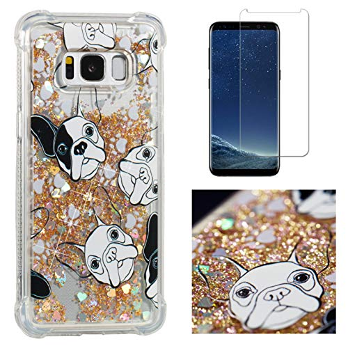 for Galaxy S8 Plus Case Glitter Liquid and Screen Protector,Sparkle Floating Quicksand Clear Slim Fit Protective Case,QFFUN Soft Thin Transparent Silicone Anti-Scratch Back Cover - Black White Dogs
