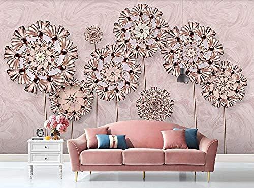 Modern Minimalist Rose Gold Flower 3D Wallpapers Bedroom Living Room Wallpapers Custom 3D Wallpaper Paste Living Room The Wall for Bedroom Mural border-430cm×300cm