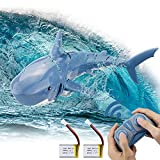 Remote Control Shark Toy for Pool 1:18 Scale High Simulation RC Shark 2.4GHz Two Rechargeable Remote Control Boat Pool Games Toys for 6+ Year Old Boys and Girls Xmas Birthday Cool Toys Gift, Blue