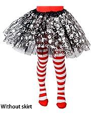 BINGBIAN - Medias de Halloween para niñas, diseño de rayas