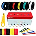 30AWG Silicone Hook Up Wire - 30 Gauge Stranded Tinned Copper Wire with Silicone Insulation, 6 Colors (Black, Red, Yellow, Green, Blue, White) 66ft / 20m Each, Hook Up Wire Kit from Plusivo
