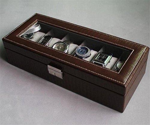 SHOUNHEZ Six-Pack Leder Uhrenbox, mechanische Uhrenbox, Armbanduhr/Schloss Aufbewahrungsbox, Coffee Color