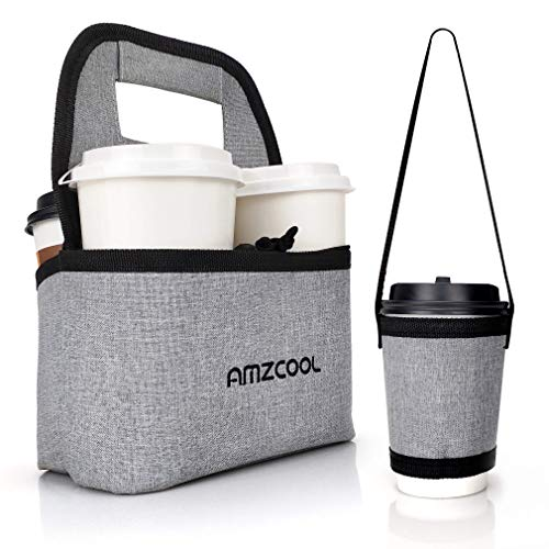 Portable Coffee Cup Holder Reusable Drink Carrier Delivery Go Bag for 4 Cup Collapsible Tote Bag with Organizer Pockets Detachable Dividers with Single Drink Tote Bag