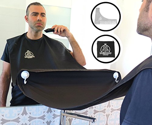 Beard Shaving Bib Apron Beard Catcher Kit with Stainless Steel Beard Shaping Tool Comb, Hair Clippings Cape for Shaving, Premium Grooming Kit for Men, Perfect Gift for Fathers Day, Black